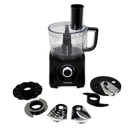 electriQ 6-in-1 700W Multifunctional Compact Food Processor - Stainless Steel & Black