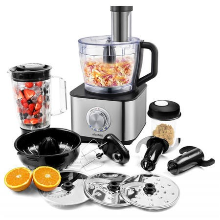 electriQ 10-in-1 1100W Multifunctional Food Processor in Stainless Steel and Black