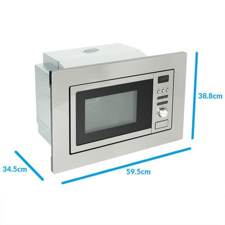 GRADE A1 - ElectriQ 20L Built-in digital Microwave with Grill in Stainless Steel