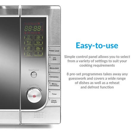 GRADE A1 - ElectrIQ 40L Freestanding Digital 1000w Combi Microwave Oven with Convection - Stainless Steel