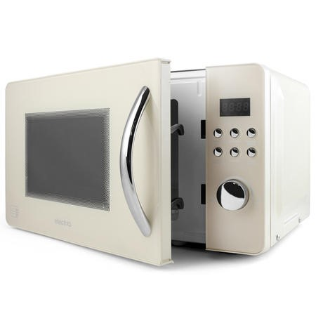 electriQ EIQMW8CREAM 20L 800W Retro Design Freestanding Digital Microwave in Cream