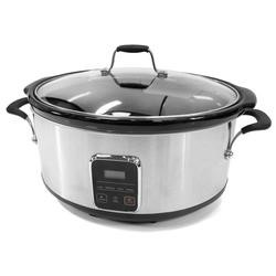 ElectriQ 6.2L Slow Cooker in Stainless Steel with Digital LED Display and Cool Touch Handles