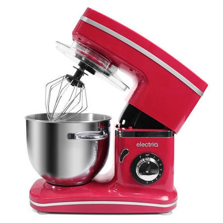 GRADE A1 - ElectriQ 5.2 Litre Kitchen Stand Mixer 1500w Red with Attachments