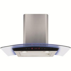 CDA EKP70SS 70cm Cooker Hood Stainless Steel With Curved Glass Canopy