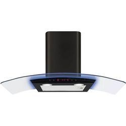 CDA EKP90BL 90cm Cooker Hood Black With Curved Glass Canopy