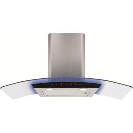 CDA EKP90SS 90cm Cooker Hood Stainless Steel With Curved Glass Canopy