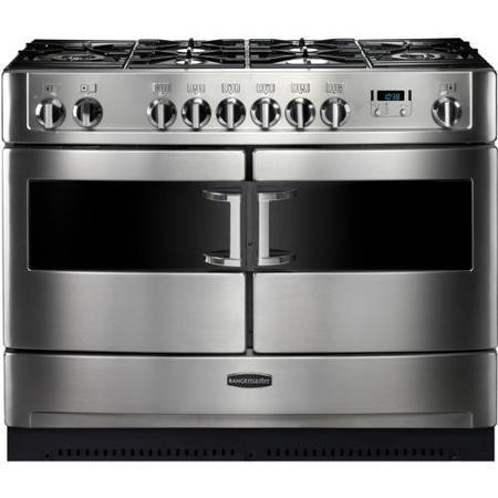 Rangemaster 83460 Elite SE 110cm Dual Fuel Range Cooker With Gloss Pan Stands - Stainless Steel