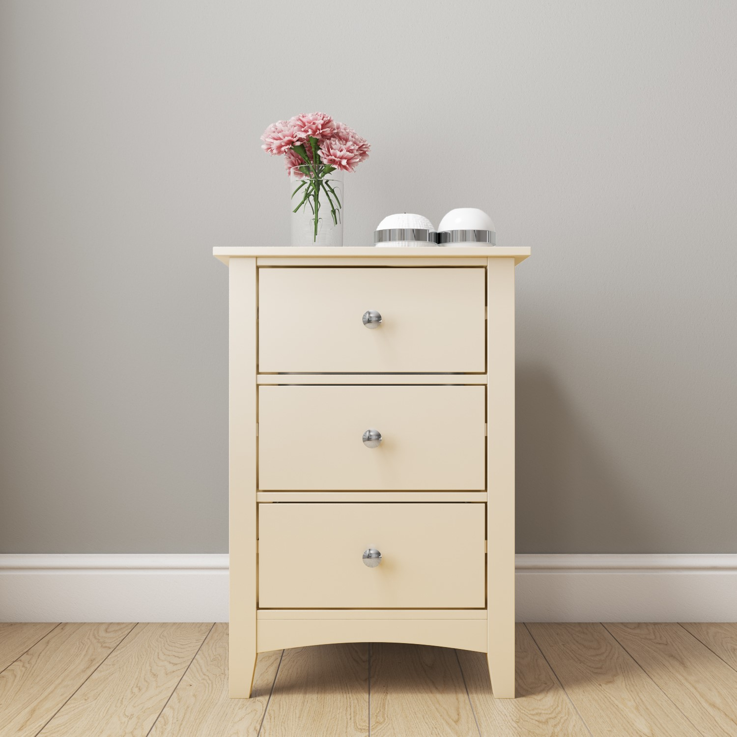 3 Drawer Bedside Table Storage Cabinet White Cream Ivory ...