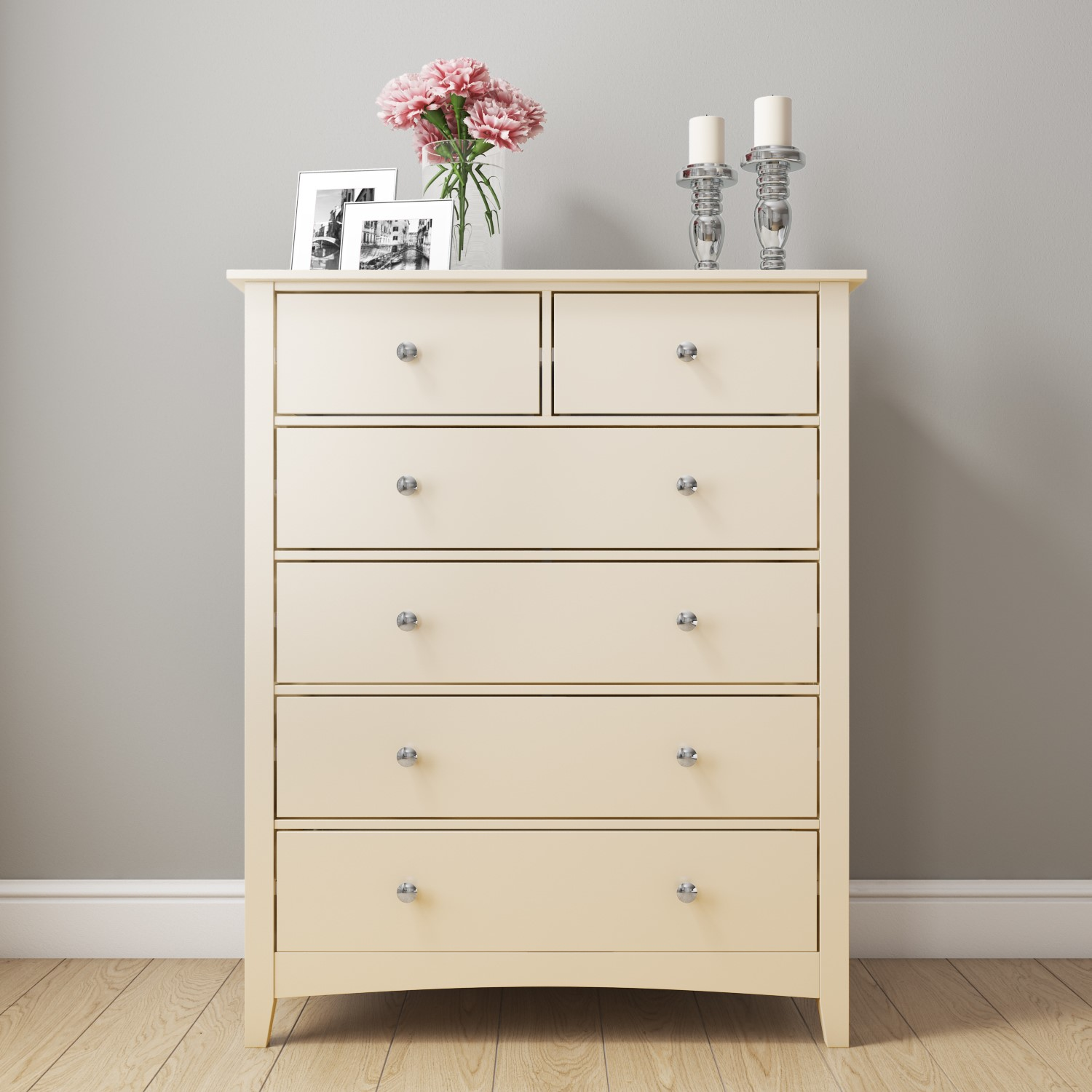 Cream 2 4 Chest Of Drawers Solid Wood Tall Storage Bedroom