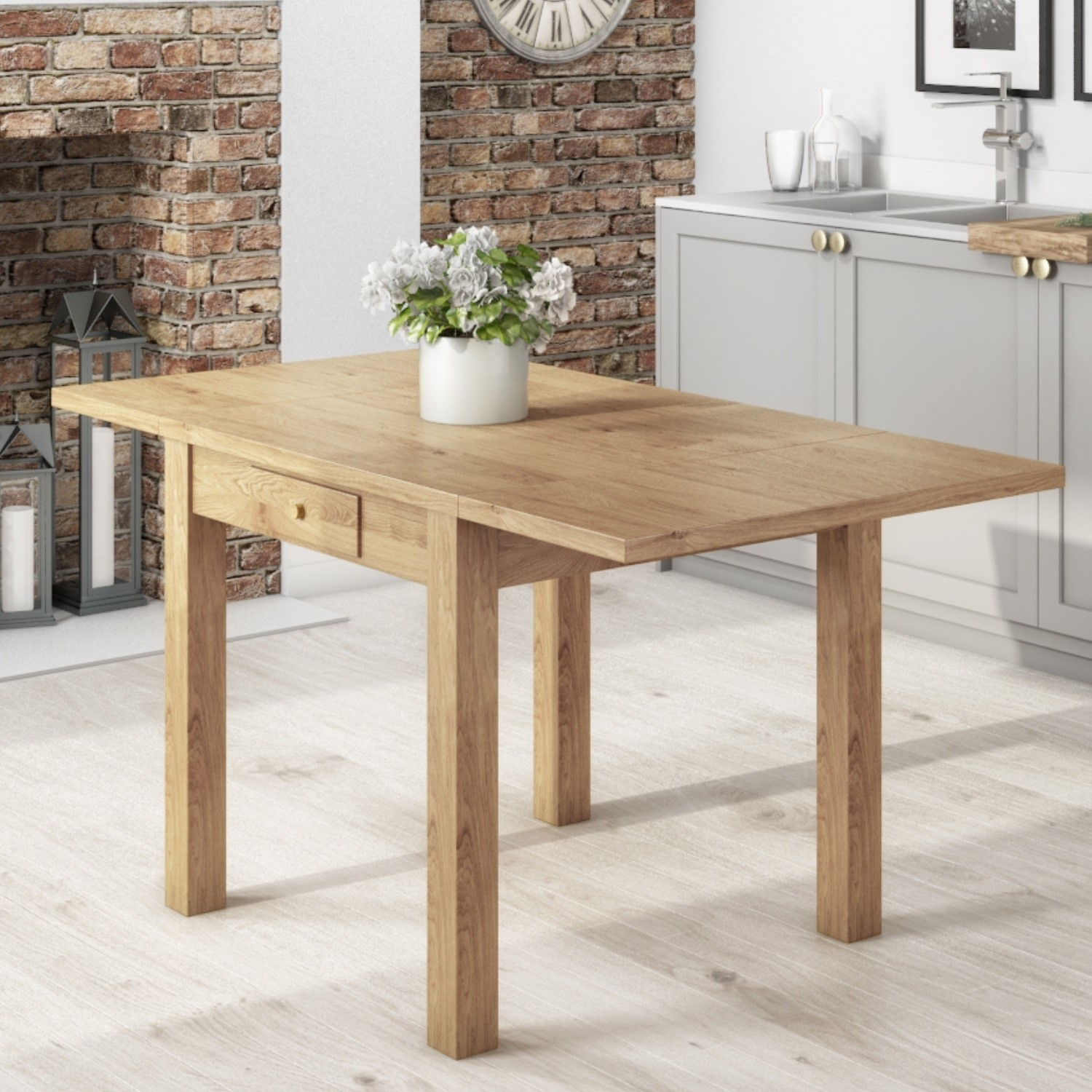 Emerson Extendable Solid Wood Drop Leaf Dining Table