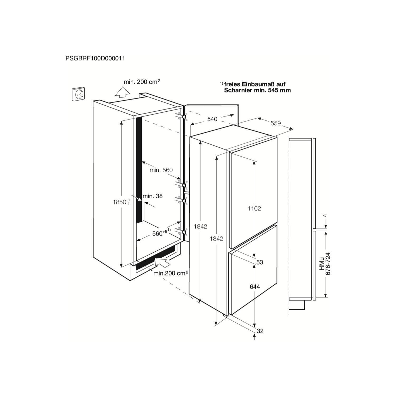 Electrolux ENN3153AOW 304L Frost Free Integrated Fridge Freezer on