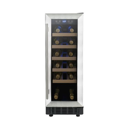 electriQ 19 Bottle Freestanding Under Counter Wine Cooler Full Single Zone 30cm Wide 82cm Tall - Stainless Steel