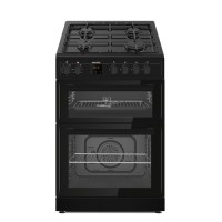 electriQ 60cm Dual Fuel Cooker with Double Oven - Black