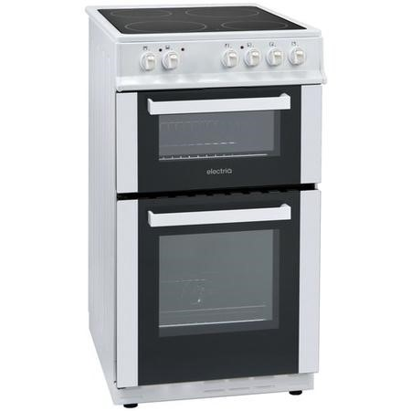 electriQ 50cm Twin Cavity Electric Cooker With Ceramic Hob  - White