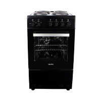 electriQ 50cm Single Oven Electric Cooker with Solid Hotplate Hob - Black