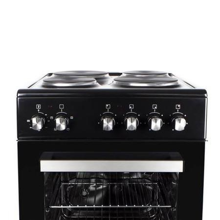 electriQ 50cm Electric Cooker with Single Oven and Solid Hotplate in White