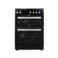 electriQ 60cm Electric Cooker with Twin Cavity and Ceramic Hob in Black