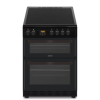 electriQ 60cm Double Cavity Electric Cooker with Ceramic Hob - Black