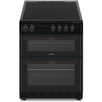electriQ 60cm Electric Cooker with Double Oven and Ceramic Hob in Black Best Price, Cheapest Prices