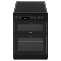 electriQ 60cm Double Oven Electric Cooker with Ceramic Hob & Programmable Timer - Black Best Price, Cheapest Prices