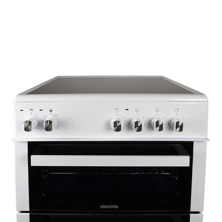 electriQ 60cm Twin Cavity Electric Cooker with Ceramic Hob in White