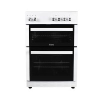 electriQ 60cm Electric Cooker with Double Oven and Ceramic Hob in White Best Price, Cheapest Prices