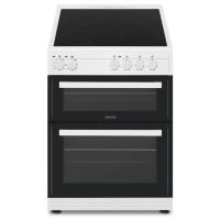 electriQ 60cm Double Oven Electric Cooker with Ceramic Hob - White Best Price, Cheapest Prices