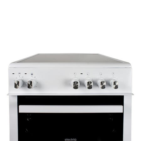 electriQ 60cm Electric Cooker with Double Oven and Ceramic Hob in White