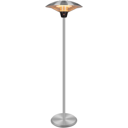 GRADE A2 - electriQ Tall Upright Electric Mushroom Style Patio Heater with Remote - Silver