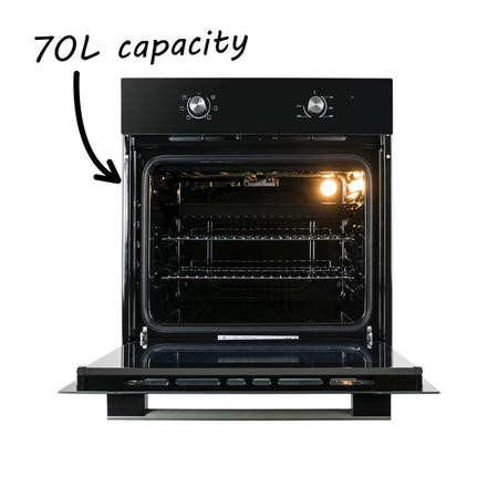 electriQ 70 litre 6 Function Built in Static Single Oven in Black  - Supplied with a plug