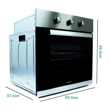 electriQ 65 Litre 8 Function Fan Assisted Electric Single Oven in Stainless Steel - Supplied  with plug