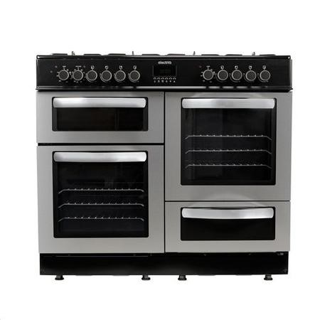 electriQ 100cm Dual Fuel Double Oven Range Cooker - Stainless Steel