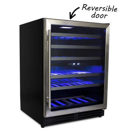 electriQ 60cm Wide 51 Bottle Dual Zone Wine Cooler - Stainless Steel/Black