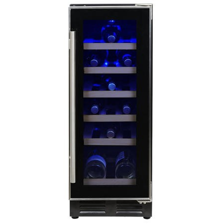 electriQ 18 Bottle Freestanding Under Counter Wine Cooler Full Single Zone 30cm Wide 82cm Tall - Black