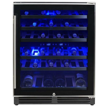 electriQ 51 Bottle Freestanding Under Counter Wine Cooler Full Dual Zone 60cm Wide 82cm Tall - Stainless Steel