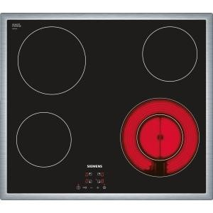 siemens et645hf17e 59cm touch control four zone ceramic hob black with stainless steel frame. Black Bedroom Furniture Sets. Home Design Ideas