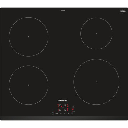 Siemens EU631BEF1B iQ100 Touch Control 59cm Four Zone Induction Hob Black - Can be used on 13 Amp Fuse