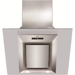 CDA EVG6SS Designer Angled 60cm Chimney Cooker Hood Stainless Steel And Clear Glass