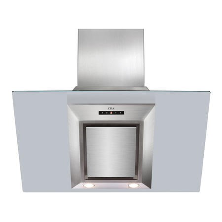CDA EVG9SS Designer Angled 90cm Chimney Cooker Hood Stainless Steel And Clear Glass