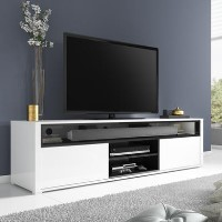 Large White & Grey Gloss TV Unit - TV's up to 70