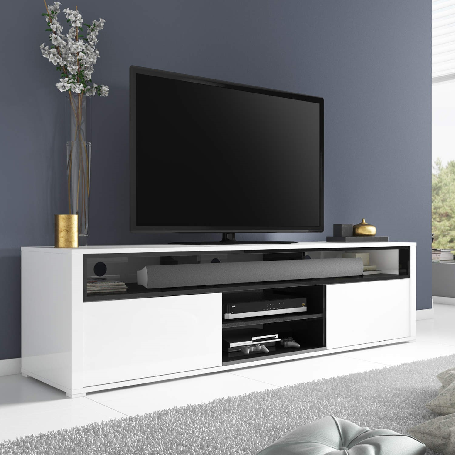 White High Gloss Tv Unit With Soundbar Shelf Tv Cabinet