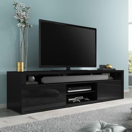 Neo Black High Gloss Tv Unit With Soundbar Shelf Evq001b