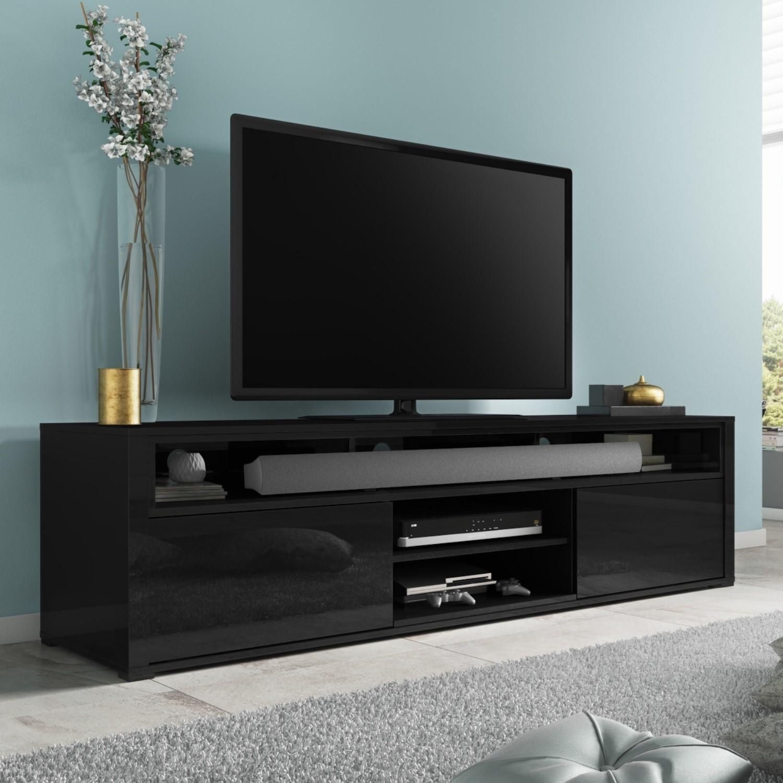 neo black high gloss tv unit with soundbar shelf evq001b rh appliancesdirect co uk black gloss tv units