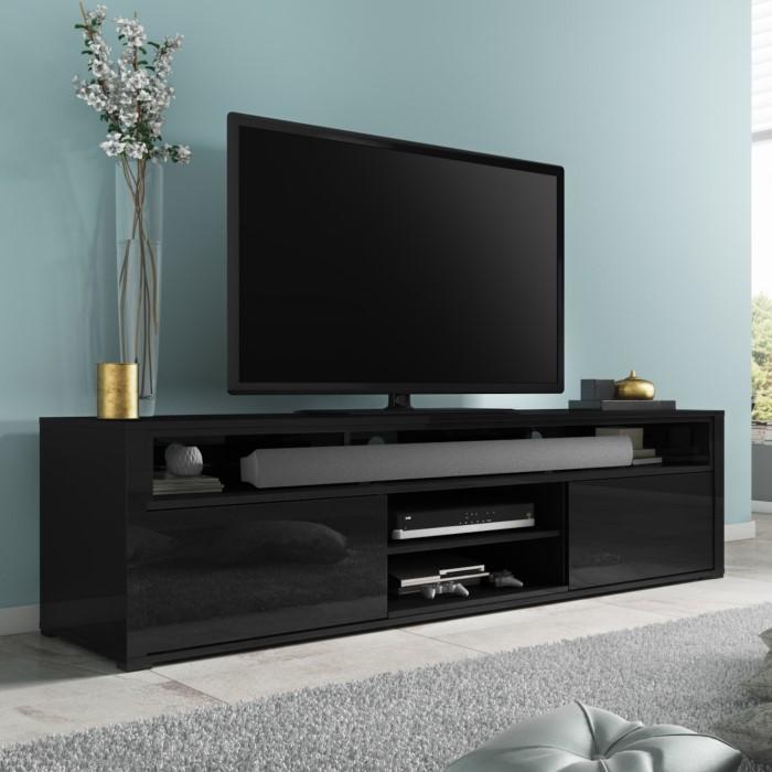 Neo black high gloss tv unit with soundbar shelf evq001b appliances direct for Best soundbar for large living room