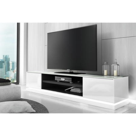 Evoque White High Gloss TV Unit Stand with LED Lighting