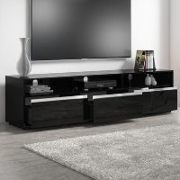 Black High Gloss XL TV Unit with Sound Bar Shelf - TV's up to 80