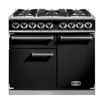 F1000DXDFBLCM Falcon 98600 1000 Deluxe Dual Fuel Range Cooker - Black And Chrome Trim - Matt Pan Stands