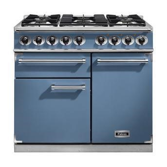 F1000DXDFCANM Falcon 98620 1000 Deluxe Dual Fuel Range Cooker - China Blue - Matt Pan Stands