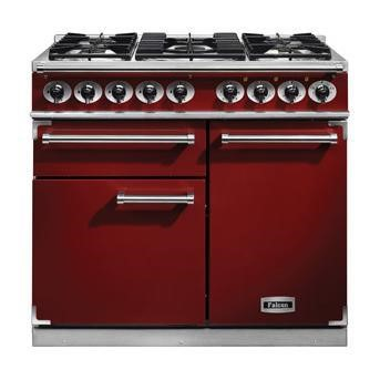 F1000DXDFRDNM Falcon 98640 1000 Deluxe Dual Fuel Range Cooker - Cherry Red - Matt Pan Stands