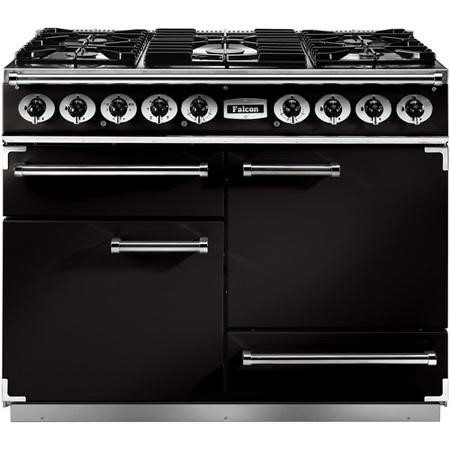 Falcon 69200 - 1092 Deluxe 110cm Dual Fuel Range Cooker - Black And Brass - Gloss Pan Stands